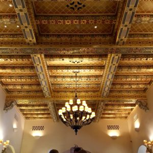 The Biltmore Santa Barbara, Four Seasons Resort - Hotel lobby ceiling with 24kt gold leaf.